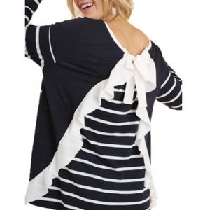 Umgee ruffled striped shirt with bow tied back
